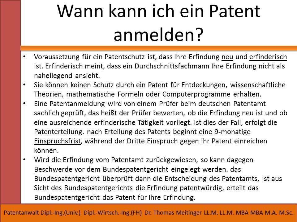 Patent Voraussetzungen